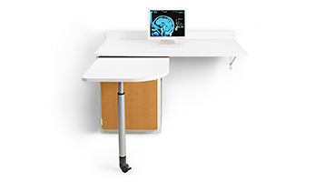 "Flexible, mobile surface gives the circulating nurse an extra 28"" x 28"" writing surface that easily stores when not needed."