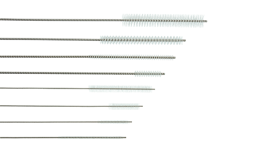 Channel cleaning brushes designed to clean surgical instruments with medical grade nylon bristles