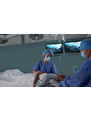 two surgeons with patient and video display screens