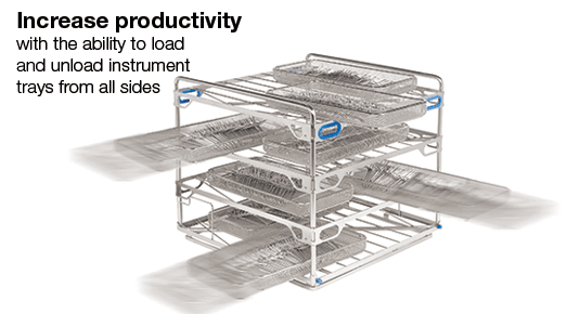 Increase productivity with the ability to load and unload instrument trays from all sides